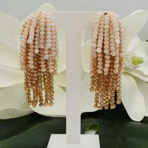 Vergoldete Wasserfall Quaste Ohrringe creme