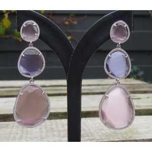 Silber Ohrringe mit rosa und lila Kattenogen