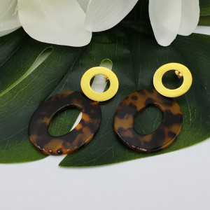 Gold plated earrings with oval tortoise shell resin pendant