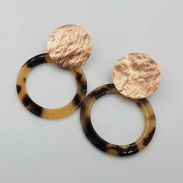 Rose vergoldete Ohrringe mit offenen Runde Schildkröte Harz-Anhänger