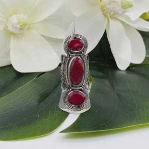 Silber ring set mit drei Rubinen 16 mm