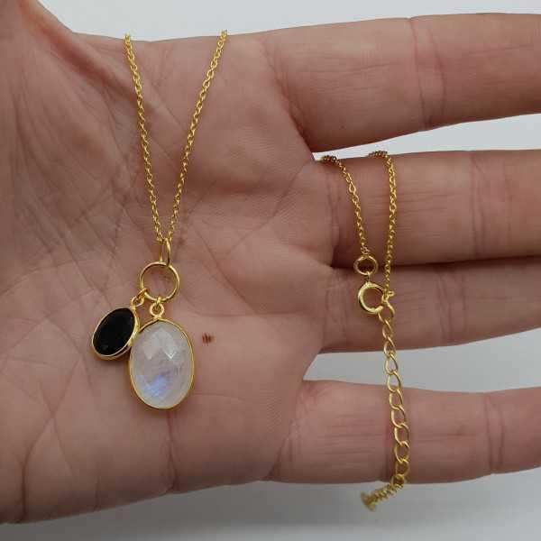 Vergoldete Halskette mit Onyx und Mondstein-Anhänger
