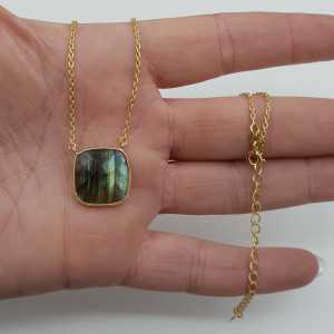 Gold plated necklace with pendant with Labradorite