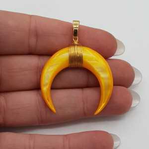 Vergoldete Mond / horn-Anhänger-gelb Perlmutt