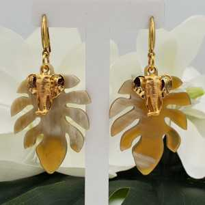 Gold plated earrings with leaf of buffalo horn and elephant charm