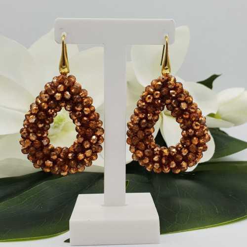 Goud vergulde glassberry braam oorbellen open druppel oranje gouden kristallen