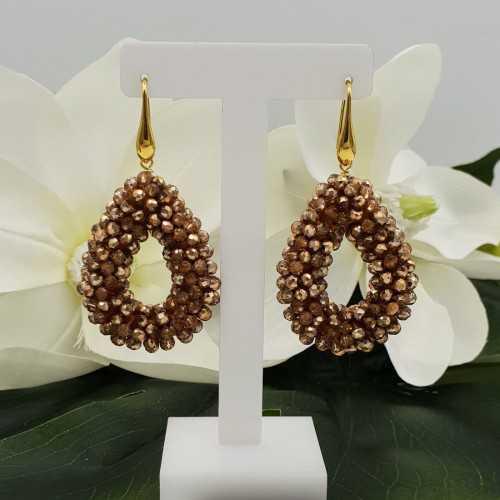 Goud vergulde glassberry braam oorbellen open druppel gouden kristallen small