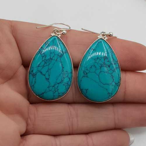 Zilveren oorbellen met grote druppelvormige Turkoois