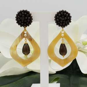 Gold plated earrings with dark brown crystals, Smokey Topaz and buffalo horn