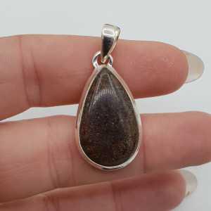 Zilveren hanger met druppelvormige zwarte Matrix Opaal