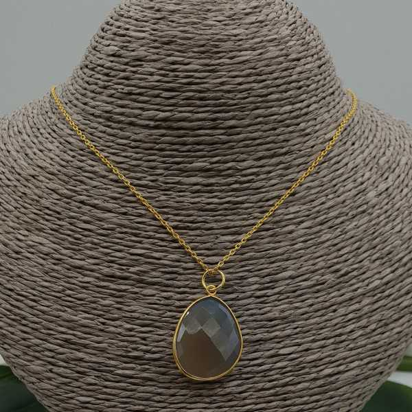 Gold plated earrings with grey Chalcedony pendant