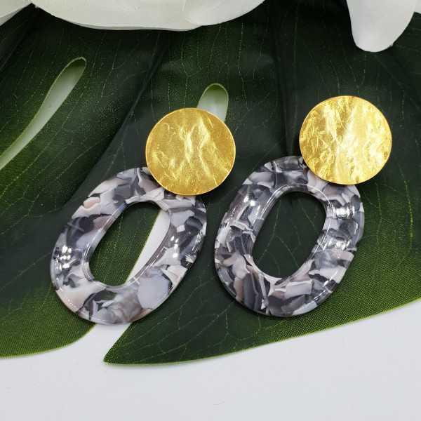 Earrings with marble light beige grey resin pendant