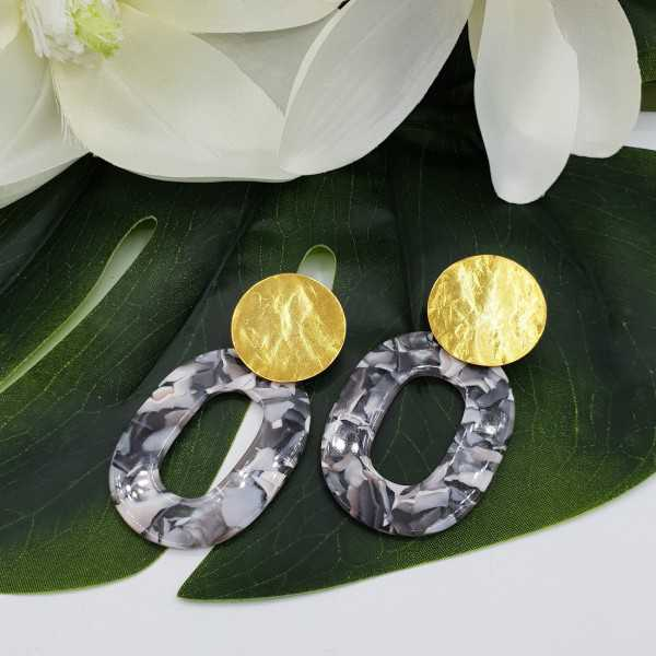 Ohrringe mit Marmor hellbeige Grau Harz-Anhänger