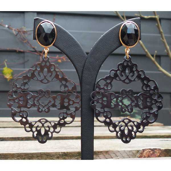 Gold plated earrings with black Onyx and carved buffalo horn