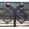 Vergulde oorbellen met zwarte Onyx en uitgesneden Buffelhoorn