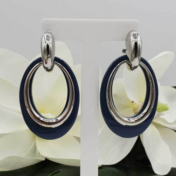 Gold creoles with grey-blue buffalo horn pendant