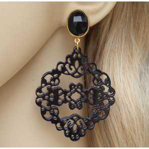 Vergoldete Ohrringe mit schwarzen Onyx-und geschnitzten Büffel-horn