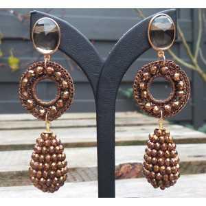 Vergulde oorbellen goud bruine kristallen en ovale Smokey Topaas