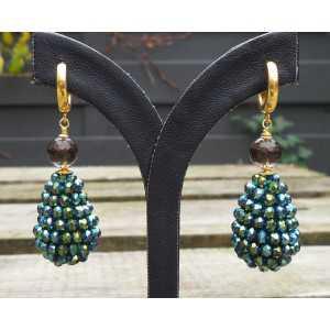 Vergulde oorbellen blauw/ groene kristallen en Smoky Topaas