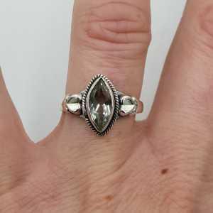 Zilveren ring gezet met marquise groene Amethist 16.5 mm