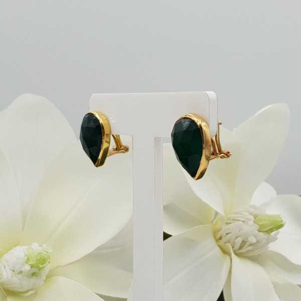 Vergoldete oorknoppen set mit grünen Onyx