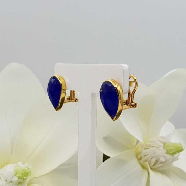 Goud vergulde oorknoppen gezet met blauw Chalcedoon