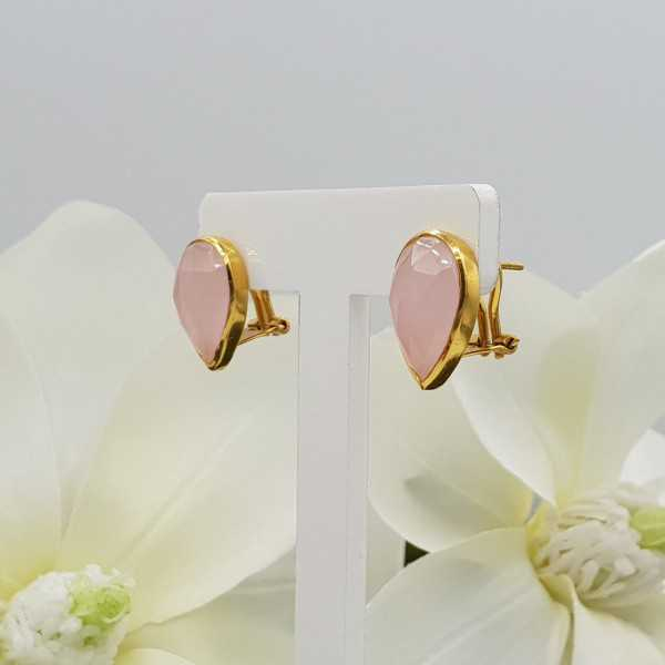 Gold plated oorknoppen set with pink Chalcedony