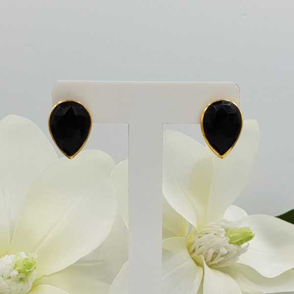Goud vergulde oorknoppen gezet met zwarte Onyx