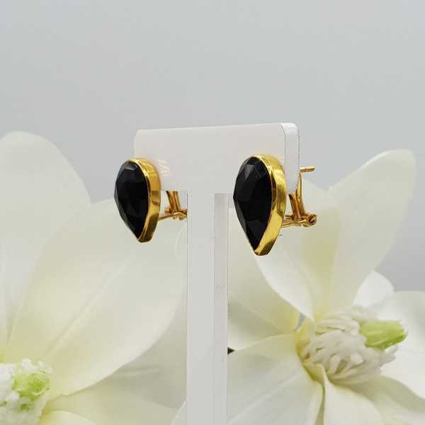 Gold plated oorknoppen set with black Onyx