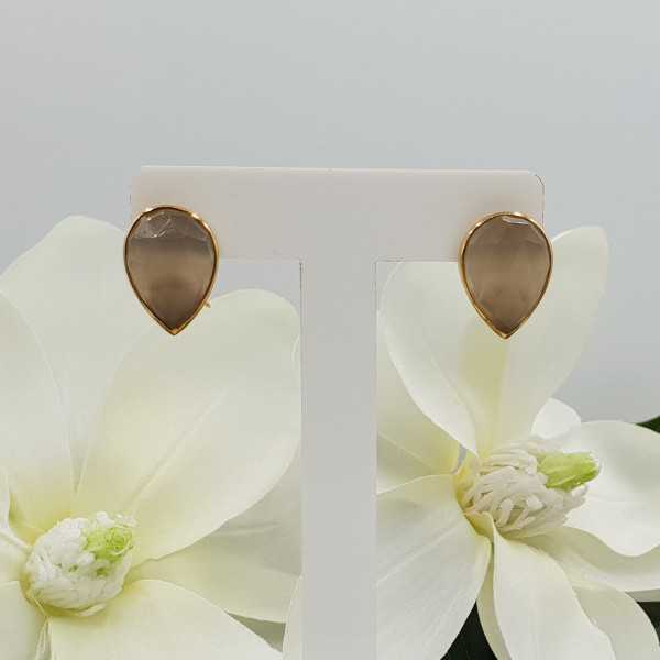 Gold plated oorknoppen set with gray Chalcedony