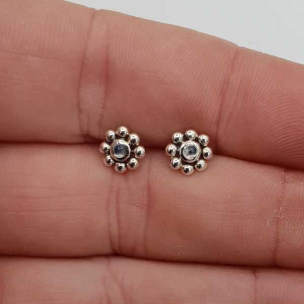 Silber oorknopjes Blume mit einem kleinen Runden Mondstein
