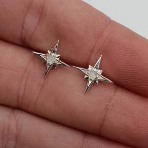 Silber-north star oorknopjes mit Regenbogen-Mondstein