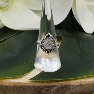 Silber ring set mit ovalen Mondstein geschnitzt Kopf