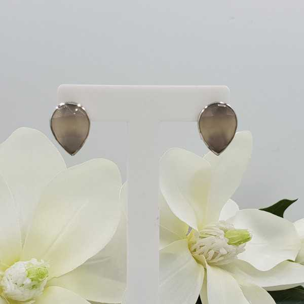 Silver oorknoppen set with gray Chalcedony