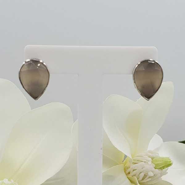 Silber oorknoppen set mit grauem Chalcedon