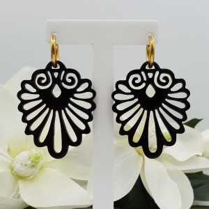 Creoles with black carved buffalo horn pendant