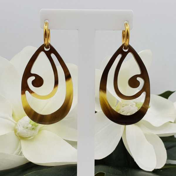 Creoles with brown carved buffalo horn pendant