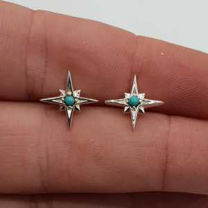 Silver north star oorknopjes with Turquoise