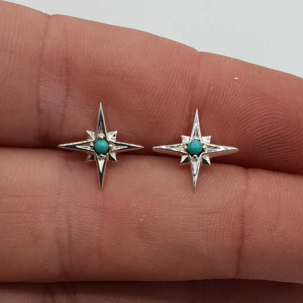 Silber-north star oorknopjes mit Türkis