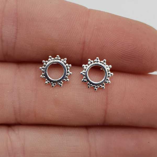 Silver open circle oorknopjes