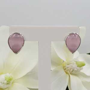 Silver oorknoppen set with pink Chalcedony