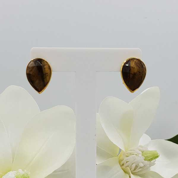 Gold plated oorknoppen set with tiger's eye