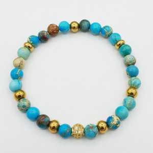 Armband van licht blauwe Sediment Jaspis