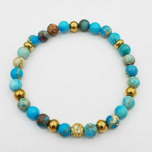 Bracelet of light blue Sediment Jasper