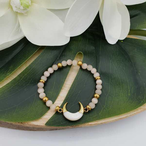 Armband aus Katzenauge und halb-Mond-Mutter-von-Perle