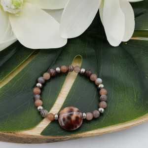 Armband aus Botswana-Achat-Pfirsich Mondstein und Kauri shell