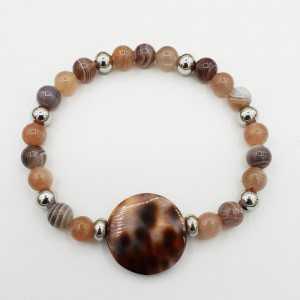 Armband van Botswana Agaat perzik Maansteen en cowrie schelp