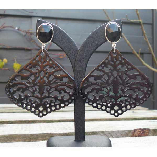 Silber Ohrringe mit facettierten Onyx-und geschnitzten Büffel-horn