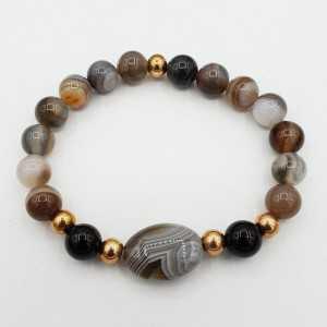 Armband aus grauem Achat und Botswana-Achat