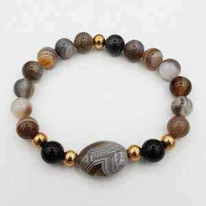 Bracelet from grey Agate and Botswana Agate